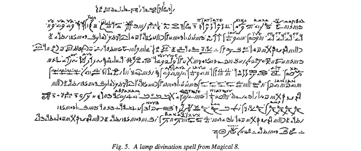 A manuscript in a foreign script for a magical spell
