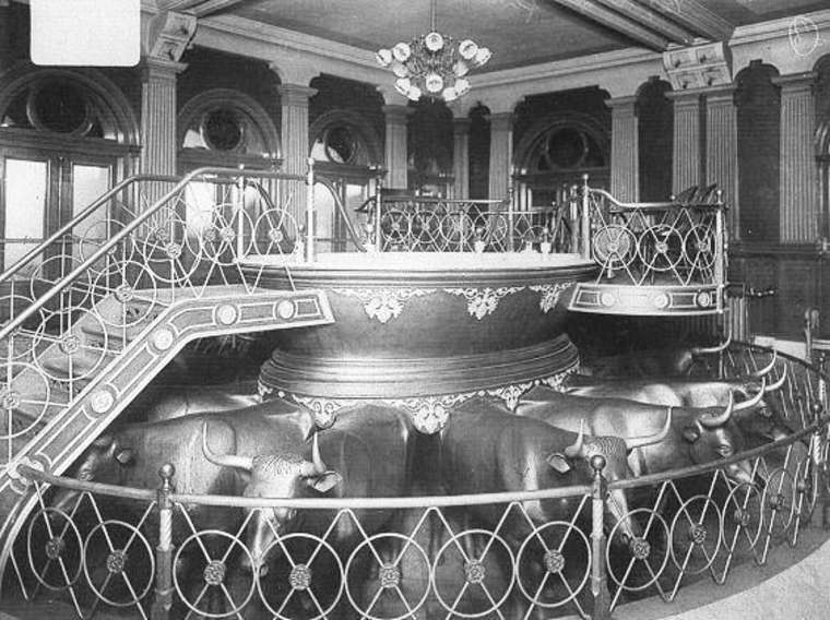 Salt Lake Temple baptismal font, from James Talmage, The House of the Lord (1912)
