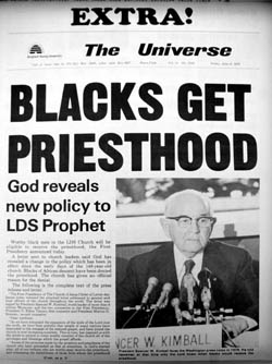 Brigham Young University campus newspaper announcing the 1978 revelation granting the Mormon priesthood to men of color.