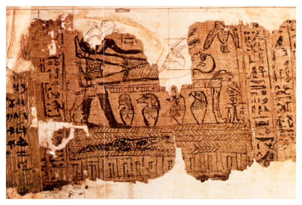 Joseph Smith papyrus fragment, including the drawing that Joseph Smith interpreted as part of the Book of Abraham