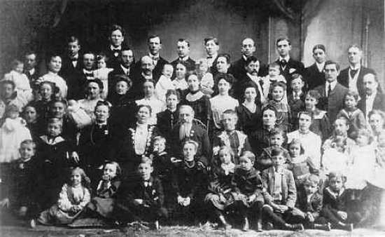 Sixth LDS Church president Joseph F. Smith with his wives and children.