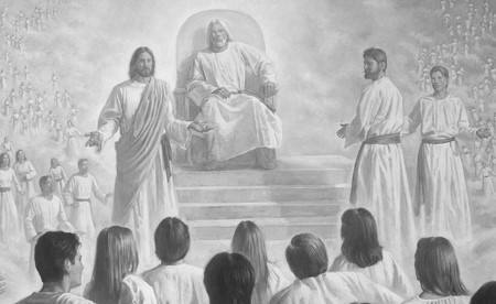 LDS artwork depicting Jesus speaking to premortal human spirits in heaven.