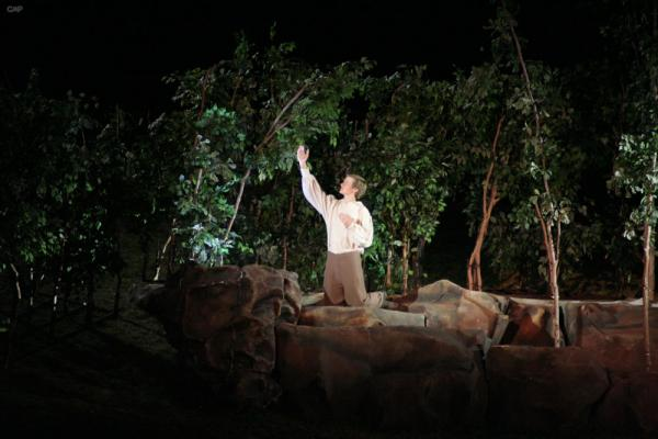 Dramatic portrayal of Joseph praying in the woods
