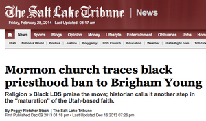 Newspaper article: Mormon church traces black priesthood ban to Brigham Young