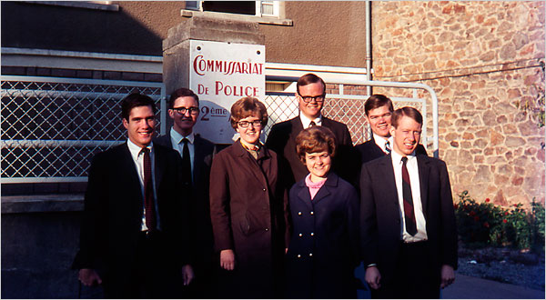 Mitt Romney (left) in 1968 with mission members in France