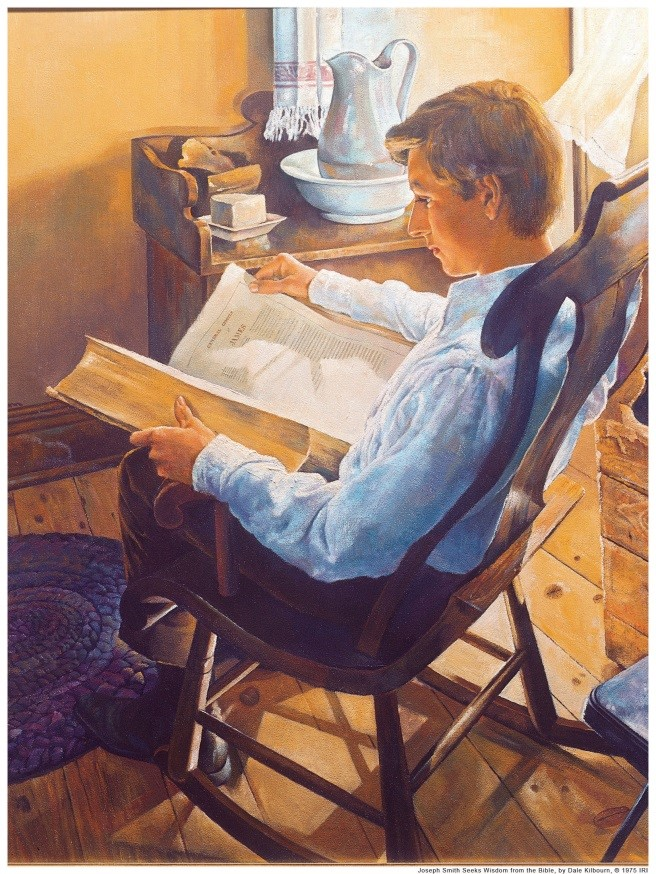 Joseph Smith sitting in a chair reading an over-sized Bible