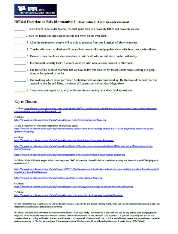 Official Doctrine or Folk Mormonism