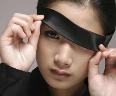 Peeking Under Blindfold