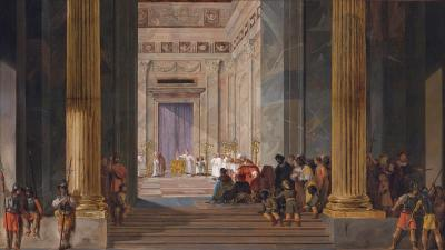 The Queen of Sheba before the temple of Solomon in Jerusalem by Salomon de Bray