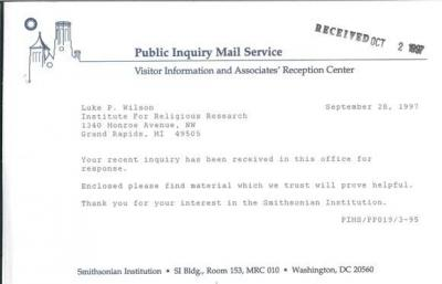 Smithsonian Institute Response to Inquiry--Cover letter